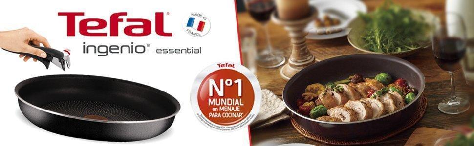 Tefal Ingenio Essential Scottish L2149702 Juego De Sartenes Y Cacerolas Con Mango Extraíble, 16/18/22/26 Cm, Revestimiento Antiadherente, Gris
