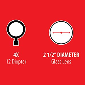 4x diopter, glass lense