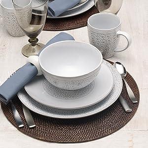 pfaltzgraff dinnerware, place setting, mikasa, corelle, dinner plates