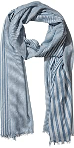Tickled Pink Teal Stripe faded teal and grey vertical stripes summer scarf