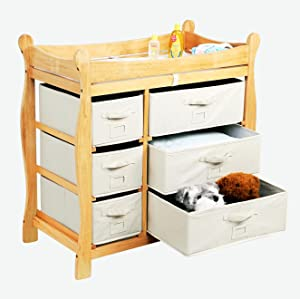 41a6d75f8442 Amazon.com : Sleigh Style Baby Changing Table with 6 Storage Baskets ...
