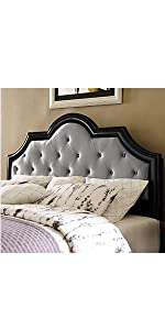 headboard, black frame, pulaski, home meridian, upholstered, upholstered headboard, metallic, silver