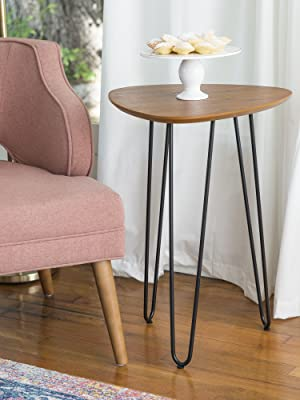 wholesale dealer 15ea6 74de5 WE Furniture AZF18HPSTWT Mid Century Modern Round Hairpin Side End Accent  Table Living Room, 18 Inch, Walnut