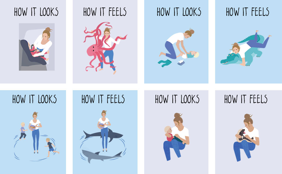 A tableu of images displaying what moments in motherhood look like vs. how they feel