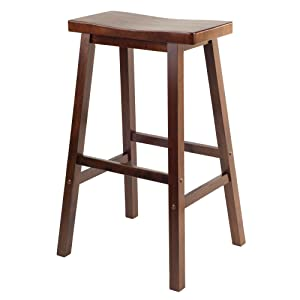 Amazon Com Winsome Wood 29 Inch Saddle Seat Stool Walnut