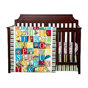 seuss crib bedding, alphabet crib bedding, dr seuss alphabet crib bedding