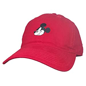3075c3768 Disney Men's Mickey Mouse Embroidered Baseball Cap, Adjustable, Red One Size