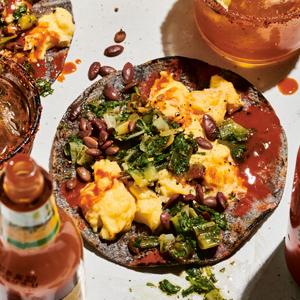B-fast Tacos with Charred Scallion Salsa & Fried Pepitas