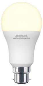 12W GLS LED Warm White Light Bulb A60 B22 Bayonet Very Bright Equivalent 120W