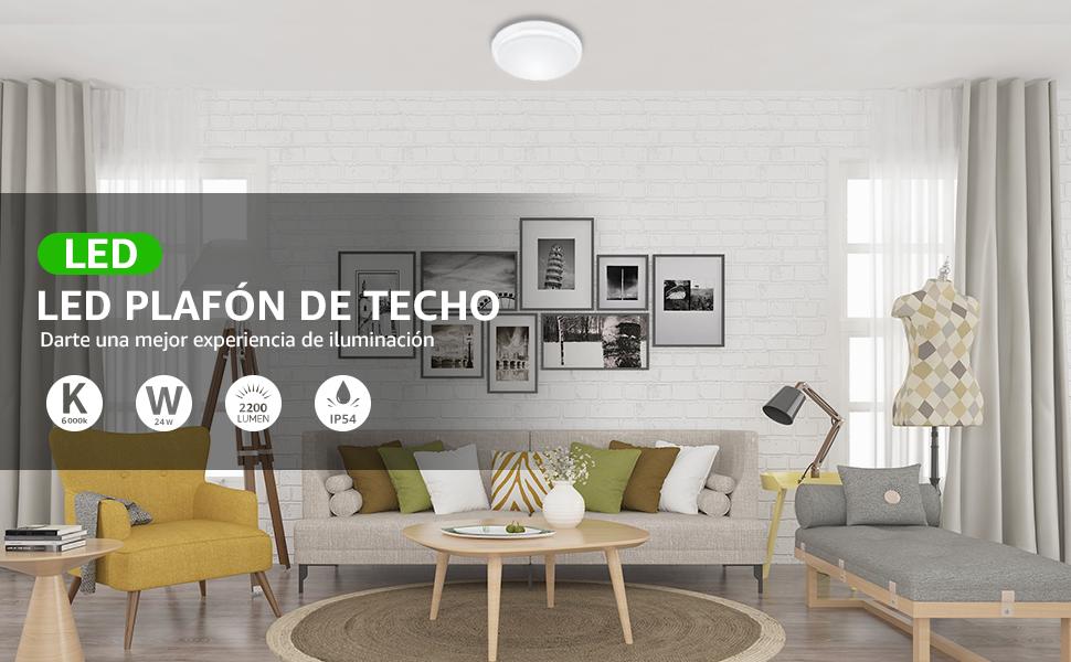 LE Lámpara de Techo 24W Equivalente a 200W Impermeable IP54 ...