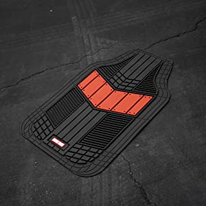 Waterproof Front /& Rear Liners with Drainage Channels /& Two-Tone Sport Design Motor Trend DualFlex All-Weather Rubber Floor Mats for Car Van /& SUV Truck