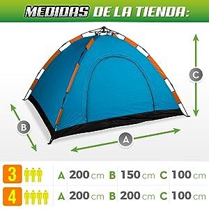 Aktive - Tienda Camping iglú para 4 personas, auto montable, medidas 200 x 200, color naranja (85079)