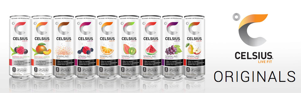 Celsius Originals, Sparkling Wild Berry, Sparkling Cola, Peach Mango Green Tea, Raspberry Acai Green