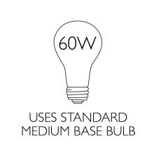 Uses Standard Medium Base Bulb