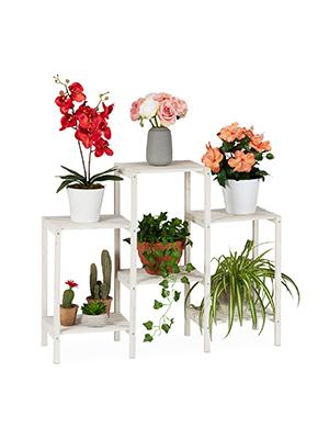 Relaxdays Soporte Plantas Decorativo, Estantería Flores de Interior, Expositor, Madera, 70 x 89 x 26,5 cm, Blanco: Amazon.es: Juguetes y juegos