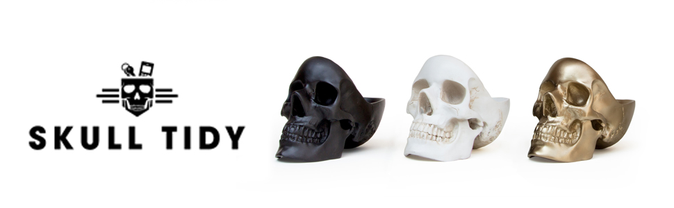 skull tidy jewellery box black gold white storage container