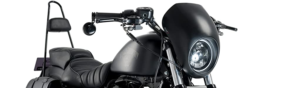 Customaccess AZ1109N Semi-Cupolino Modello Anarchy Nero Opaco Customacces per Harley Davidson Sportster 883 Iron 09