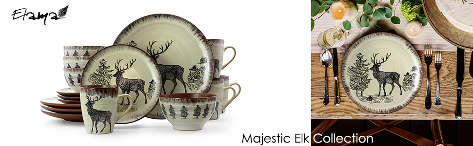 elk cabin stoneware dinnerware dish set microwave dishwasher safe 16 piece dining dinner set for 4