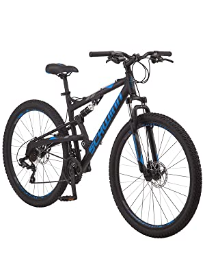 Schwinn S29 Dual-Suspension Mountain Bike with 29-Inch Wheels in Black,  Featuring 18-Inch/Medium Aluminum Frame, Mechanical Disc Brakes, and  21-Speed