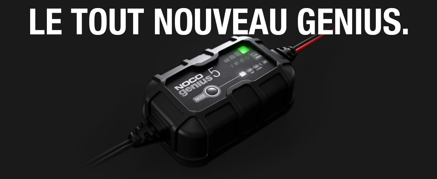 NOCO GENIUS5EU, Chargeur Intelligent Automatique de 5A, Chargeur de Batterie 6V et 12V