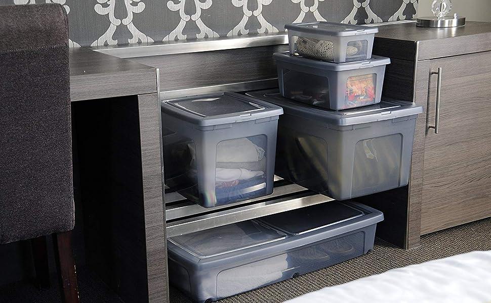 Boîte de rangement sous lit avec roulettes Modular Clear Box par Iris Ohyama
