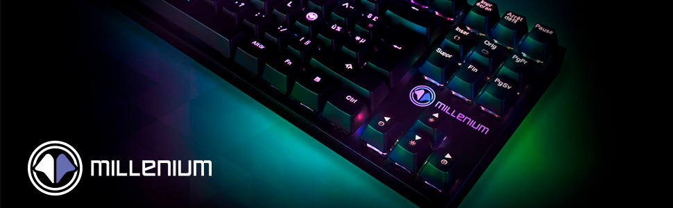 MILLENIUM MT2Mini - Teclado Mecanico Gaming para e-Sport (Retroiluminación Full RGB Personalizable, Switchs Rojos Lineares, QWERTY Español, Cable USB ...