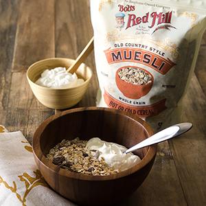 muesli, whole grain, yogurt