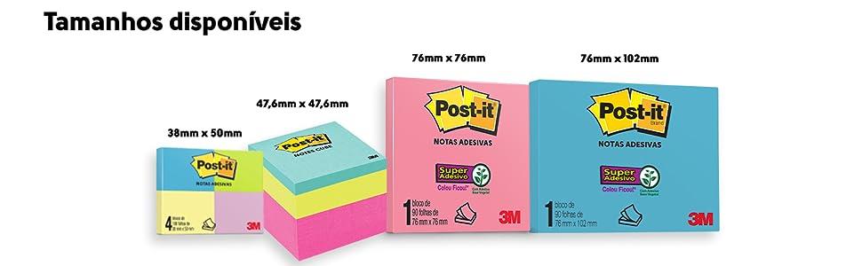 post-it, bloco, notas, tamanhos