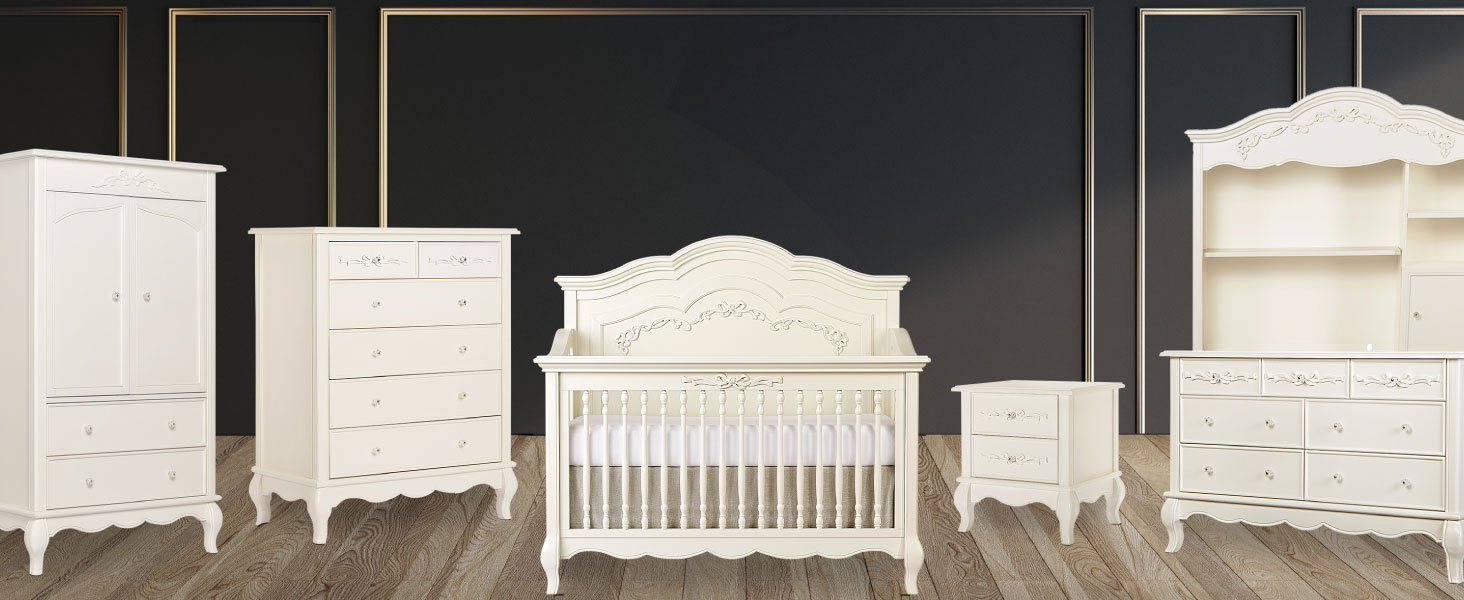 crib, dresser, tall chest, evolur, nursery, book case, night stand, double dresser, 5-in-1