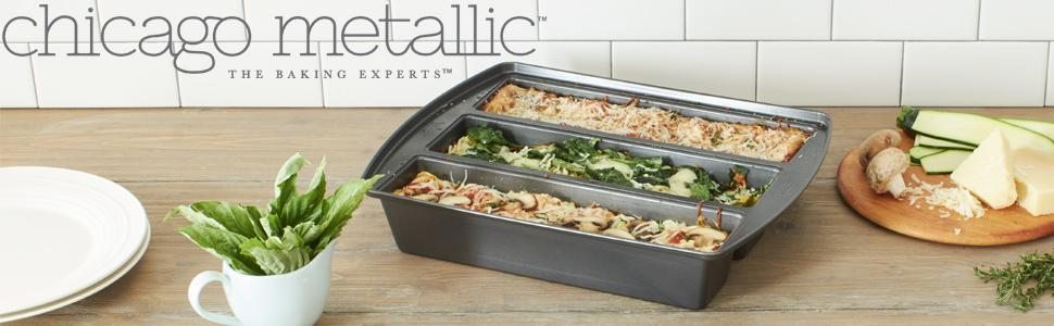lasagna pan; chicago metallic; cuisinart; green pan; rachael ray; all-clad; wilton; non-stick pan;