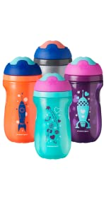 active sports cup water bottle insulated core sweat proof space stars astronaut unisex baby toddler
