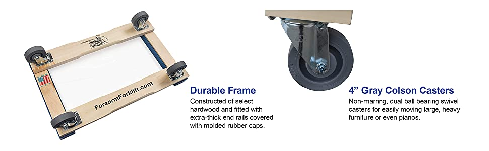 """Forearm Forklift Pro Grade Heavy Duty Moving Dolly with Blue Rubber Caps, 18"""" x 30"""", 4"""" Casters"""