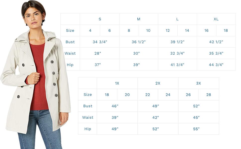 trench coat size chart small medium large extra large plus sizes 1x 2x 3x