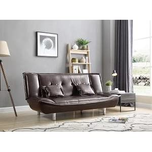 Hodedah Faux Leather Click-Clack Sofa Bed with 2-Pillows in Brown