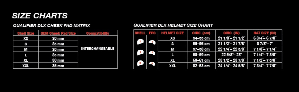 Qualifier bell helmet sizing chart