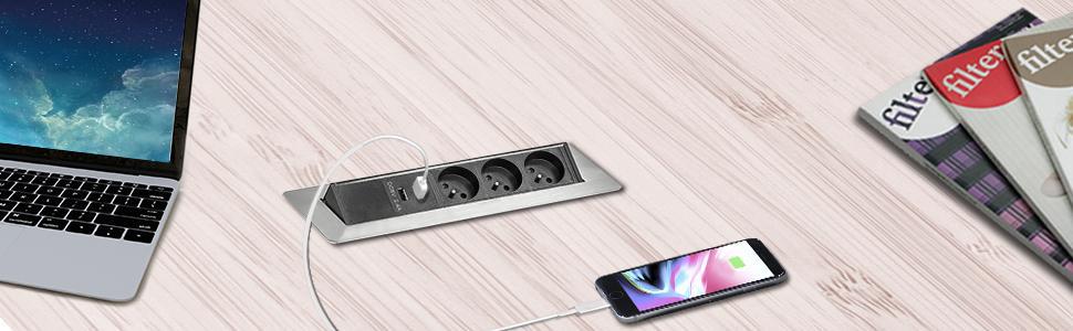 prise escamotable plan de travail bloc multiprise cuisine travail prises escamotables electrique