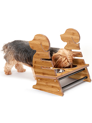 Small; Bamboo; Veneer; Puppy; Style; Adjustable; Feeder; Stand