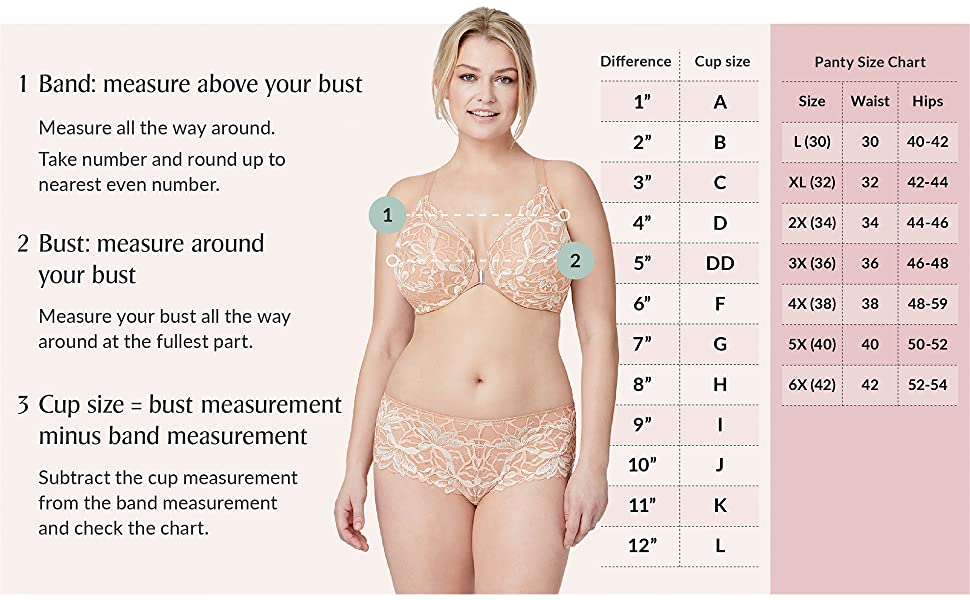 how to measure my band size bra size bust size cup size panty size bramour glamorise