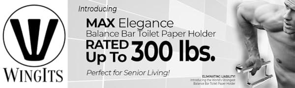 Assist Bar, Toilet Paper Holder, Stainless Steel