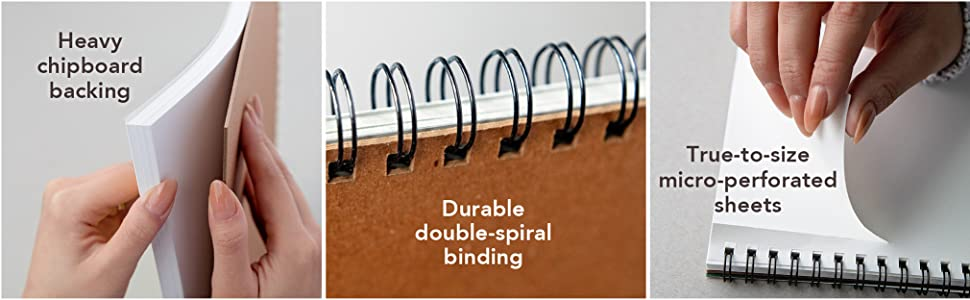 Drawing pad features heavy chipboard, wirebound art pad, perforated sheets. Heavyweight art paper