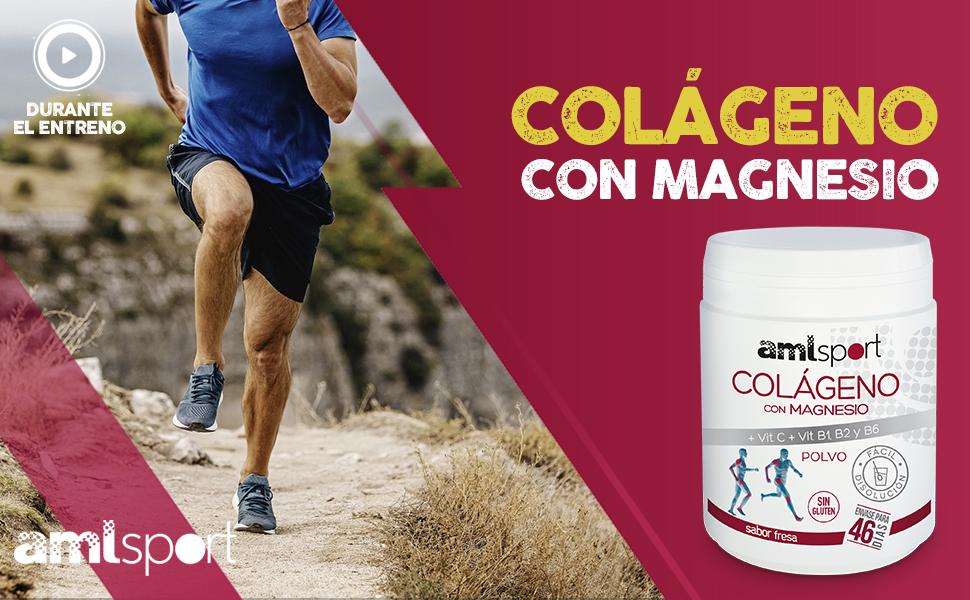 AMLsport - Colágeno con magnesio + vit c, b1, b2 y b6 – 350 gramos (sabor fresa) articulaciones fuertes. Regenerador de tejidos con colágeno hidrolizado tipo 1 y 2. Envase para 46