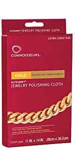 Connoisseurs, jewelry cleaner, gold polishing cloth, polish cloth, cleans gold, cleans silver, jewel