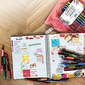 sarasa retractable gel pen line, color vibrancy, quick dry pen for the left handed, zebra pens