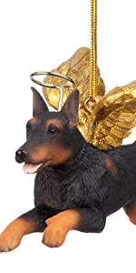 Design Toscano Honor the Pooch: Doberman Holiday Dog Angel Ornament