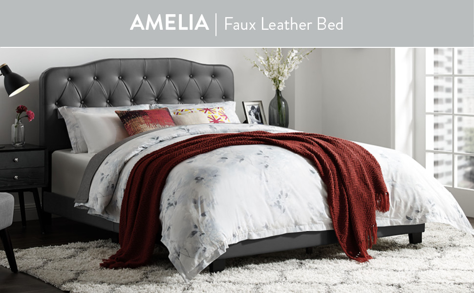 Amelia Twin Faux Leather Bed GRY