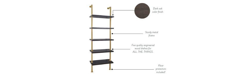 modern bookcase, gold bookshelf, wood metal bookshelf, modern bookcase black, wooden ladder shelf