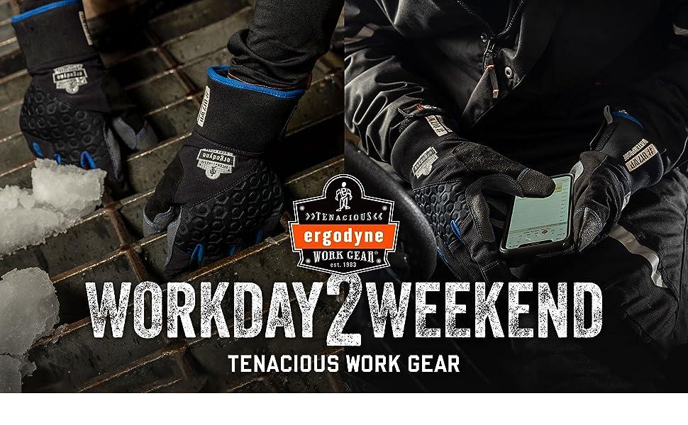 ergodyne workday2weekend tenacious work gear 817wp thermal winter work gloves waterproof