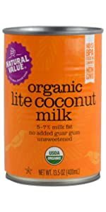 organic natural value lite light coconut milk