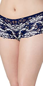 noho hipster panty moderate coverage lace stretch fabric cotton panty set