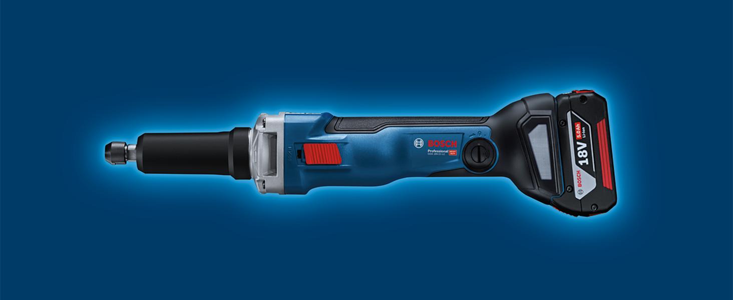 18 V Size Bosch Professional GGS 18V-23 PLC Amoladora recta conectable sin bater/ía pinza di/ámetro m/áximo 8 mm en L-BOXX hombre muerto 23000 rpm azul